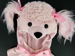 Spooky Night Pink Poodle Costume Girls 24 Months Puffy Pink Vest w Hood Paws $28.97