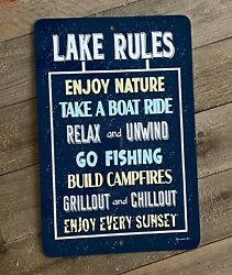 Lake Rules Sign Inspirational Sign Lakeside Custom Signs Made in The USA $17.80