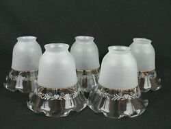 5 Bell Light Shade Frosted Clear Ruffle Glass Ceiling Fan Chandelier Wall Sconce $39.99