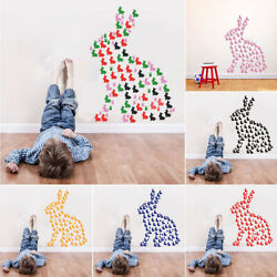 Rabbit Shape Cute Durable Eco Friendly Happy Easter Wall Stickers Kids Bedroom $6.68