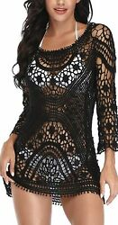 Women's Bathing Suit Cover Up Crochet Lace Bikini Swimsuit Dress One Size $18.60