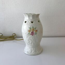 Charming BELLEEK Porcelain Roses amp; Hearts HURRICANE LAMP Style Accent Light $64.00