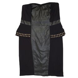 Torrid Black Dress Faux Leather Strapless Peplum Gold Studs Stretch Party 14 $16.99