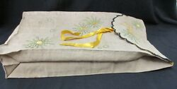 ARTS AND CRAFTS LINEN SHIRT BAG WITH EMBROIDERED DESIGN $40.00