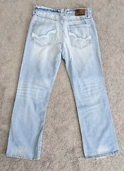 Big Star Mens PIONEER Boot Cut Jeans 32S Actual 32.5 x 29 Light Wash Distressed $34.99