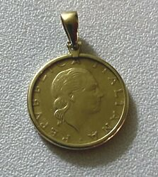 Italian 200 Lire Coin in 14k Solid Yellow Gold Bezel Pendant for Necklace $165.00