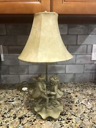 Vintage Dancing Frog Table Lamp On Lily Pad With Shade $49.95