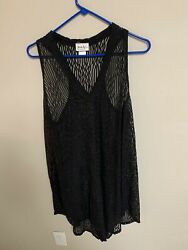 Jordan Taylor Womens Beach Cover Up Black Mesh Lace Size XL Preowned $16.49