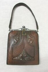 ARTS AND CRAFTS HAND MODELED LEATHER PURSE MADE BY TEITZEL $225.00