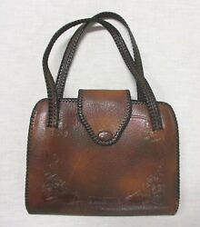 ARTS AND CRAFTS HAND MODELED LEATHER PURSE MADE BY BOSCA BUILT $150.00