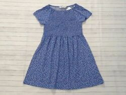 NWT Hamp;M girls size 6 8 years blue floral smocked dress cotton knit B3 $7.99