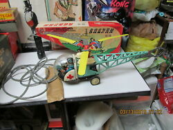 HELICOPTER WITH FLEXIBLE MONORAIL WIND UP IN BOX 50#x27;S RED CHINA RARE 16 INCHES $249.00