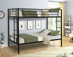 New Twin over Full Bunk Beds Bed Frames Bedroom with Ladder Furniture Black $230.48