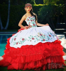 Quinceanera Redamp;white Dresses Ball Gown Embroidery Bridal Gown Party Prom Gown $149.99