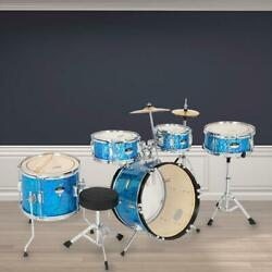 16#x27;#x27; 5 Piece Complete Kids Junior Drum Set Kit w Throne Cymbal Stick Pedal Blue $175.99