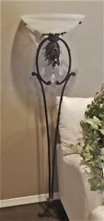 2007 VTG SPANISH FRENCH STYLE WALL SCONCE LAMP TORCHIERE GLASS SHADE 60quot; 1 of 2 $399.99