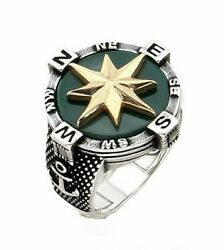 Mens Rings Sailor Compass Design 925 Solid Sterling Silver Ring Jewelry emerald $42.90