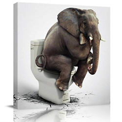 Square Wall Art Canvas Oil Painting Funny Elephant Sitting on The Toilet Animal $34.34