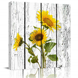 Square Wall Art Canvas Oil Painting Sunflowers Printed on Rustic Wooden Board $41.52
