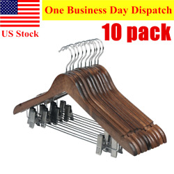 10 Pack Wooden Suit Hangers Skirt Hangers with Clips Smooth Solid Pants Hangers $27.99