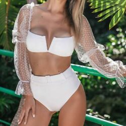 Long Sleeve Dot Mesh Bikinis Women Strapless High Waist Swimsuit Swimwear Padded $32.60