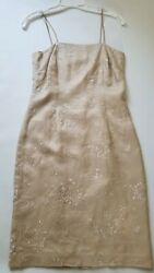 Talbots Silk Cocktail Dress Womens Size 4 Embroidered with Beads Skinny Straps $14.95