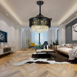 42quot; Crystal Invisible Ceiling Fan Light Black Chandelier with LED Remote Control $146.32