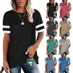 Summer Women Crew Neck Short Sleeve Blouse Casual Loose T Shirt Stripe Solid Top $19.99