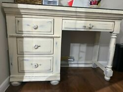 White antique desk with drawers and glass protection top $20.00
