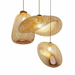 Bamboo Art Pendant Lights Fixtures Modern Restaurant Hotel Rattan Hanging Lamps $155.69