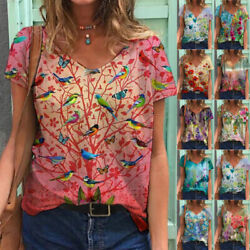 Summer Womens Casual Floral Print Blouse Loose T Shirt Short Sleeve V Neck Top $15.17