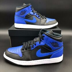 Nike Air Jordan 1 Mid Black Hyper Royal Black 554724 077 GS and Men#x27;s Sizes $134.87