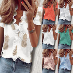Women Summer Short Sleeve Floral Lace Print V Neck Blouse Casual Loose T Shirt