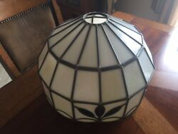 VINTAGE Mid Century Leaded Slag Stained Glass Antique Lamp Shade FAST SHIPPING $199.95