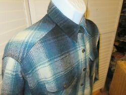 Womens At Last amp; co Plaid Long Sleeve button up Blue Wool Blend Shirt Medium $24.29