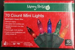 70 Count Mini Lights Multi Color Bulbs Green Wire Indoor Outdoor Festive Party $9.25