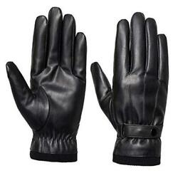 Men#x27;s Winter Gloves Leather Touchscreen Snap Closure Cycling Glove Large Black $16.79