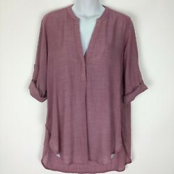 Lush Small Red Top Shirt Blouse Sheer Hi Low Womens Roll Tab 3 4 Sleeve $14.95
