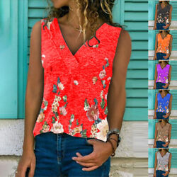 Summer Women Floral Print Blouse V Neck Sleeveless T Shirt Loose Casual Tank Top $14.34