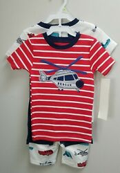 Carter#x27;s Toddler Boys#x27; 4 Piece Helicopter Rescue Vehicles Pajamas PJ Set 4T $24.99