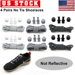 4 PAIR No Tie Shoelaces Elastic Tieless Lock Lace For Kids Adults Universal US $7.89