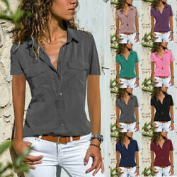 Summer Womens Short Sleeve V Neck T Shirt Button Solid Blouse Casual Pocket Top $14.15