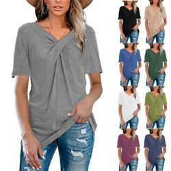 Ladies Short Sleeve Tunic V neck Tops Solid Color Blouse Loose Casual T shirt $16.97