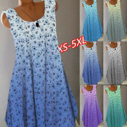 Women Crew Neck Sleeveless Summer T Shirt Floral Casual Tank Dress Size Plus $14.75