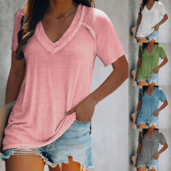 Summer Women V Neck Short Sleeve T Shirt Casual Tunic Top Loose Fit Solid Blouse $15.74