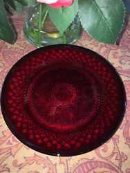 """Set of TWO Vintage Ruby Red Glass Dinner Plate Plates 10 1 8"""" Arcoroc France $9.99"""