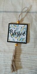New quot;BLESSEDquot; Frame Hanging Wood Sign Decor Distressed Wood Bead Lemons Yellow $3.99