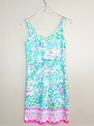 Lilly Pulitzer Adrianna Dress WHAT A LOVELY PLACE 100% Cotton Size XS