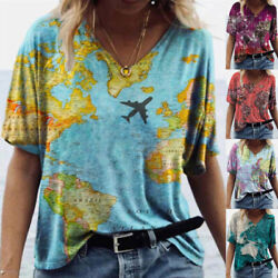 Women V Neck Short Sleeve Blouse Loose Comfy T Shirt Casual Map Printing Top Tee $15.54