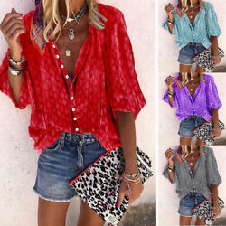 Summer Women Short Sleeve T Shirt V Neck Tops Casual Floral Tunic Loose Blouse $14.60